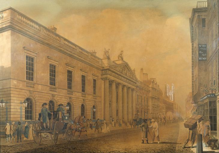 The East India's Company Headquarters in Leadenhall Street, as rebuilt by Richard Jupp and Henry Holland, 1796-1799. Watercolour. WD 2460 © The British Library Board