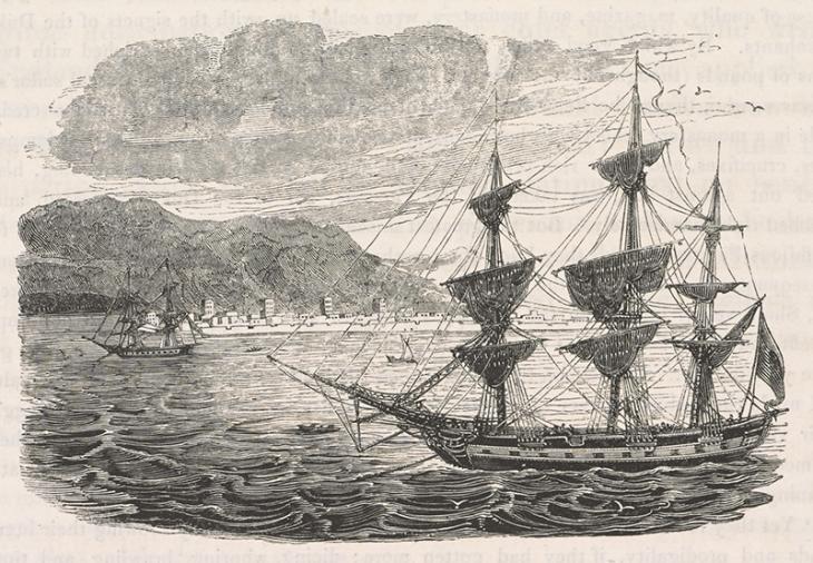 """""""رأس الخيمة، الميناء الرئيسي للقراصنة الوهابيين"""" من كتاب جيمس باكنجهام، """"رحلات في آشور وميديا وبلاد فارس""""، ١٨٣٠. 567.g.5، ص. ٤٧٦."""