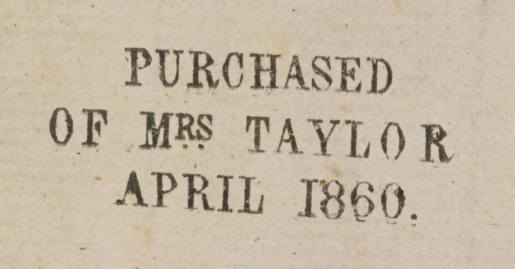 Buyer's annotation printed on one of the manuscripts purchased from Mrs Taylor in 1860. Add MS 23391, f. ii-v