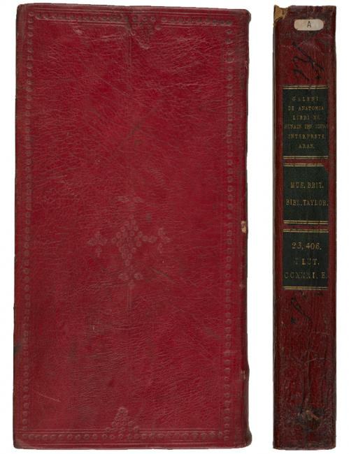 An example of the red binding on one of Taylor's manuscripts (Add MS 23407)  & the spine of a manuscript from Taylor's Library (Add MS 23406)