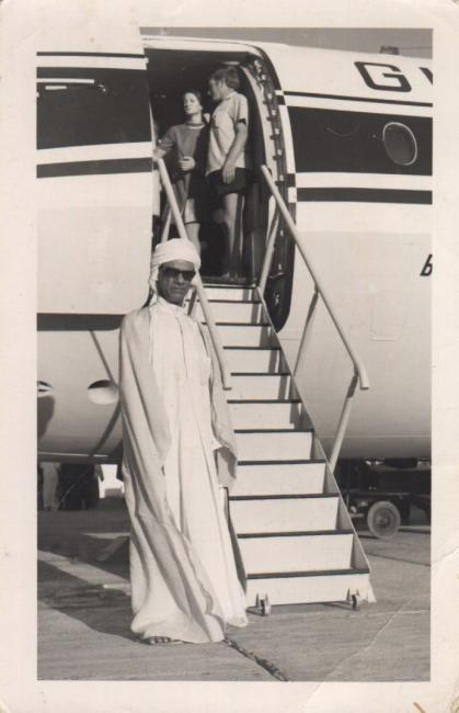 Salim Rashid Suri at an airport circa 1960s; courtesy of Khalid Al-Suri.