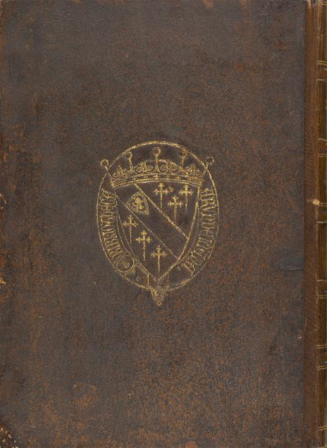 The binding of one of Arundel's manuscripts bearing a coat of arms and inscription 'Bibliotheca Arundeliana'. Arundel Or 52