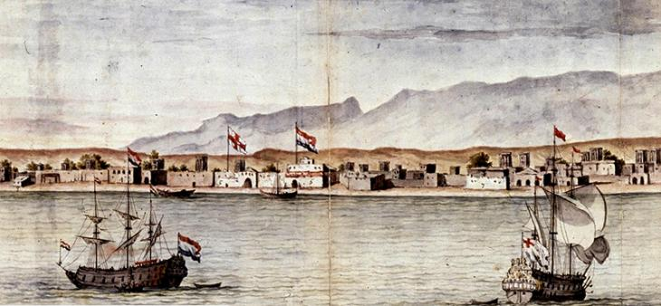Detail of a painting of Bandar e-Abbas, by Cornelius de Bruyn, 1704 (Public Domain: National Archief, Netherlands)
