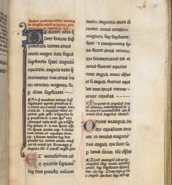 الصفحة الأولى من نسخة القرن الثالث عشر من الترجمة اللاتينية بقلم جيرارد كريمونا للنص العربي لكتاب الأشكال الكرية لمانالاوس (Harley MS 13 (De figuris sphericis، ص. ١٩٥و