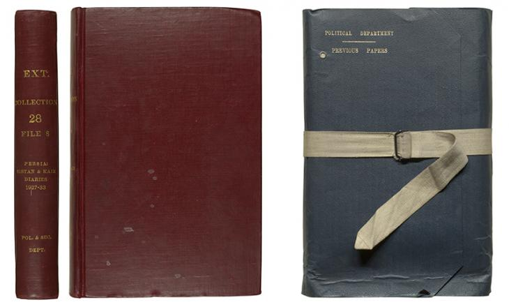 Front cover and spine of a bound file (IOR/L/PS/12/3403), and front cover of an unbound file (IOR/L/PS/12/3396)