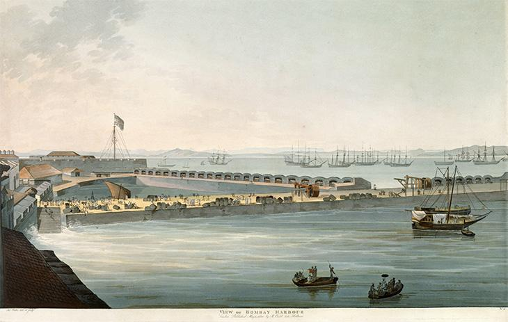 Aquatint of a view of Bombay Harbour, 1804. X 436 (plate 2). Courtesy of the British Library