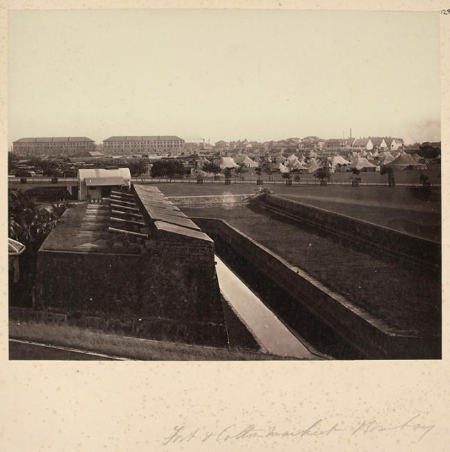 Photograph of a cotton market, Bombay, 1860s. From an album of 'Photographs of India & Overland Route (Photo 394/128)