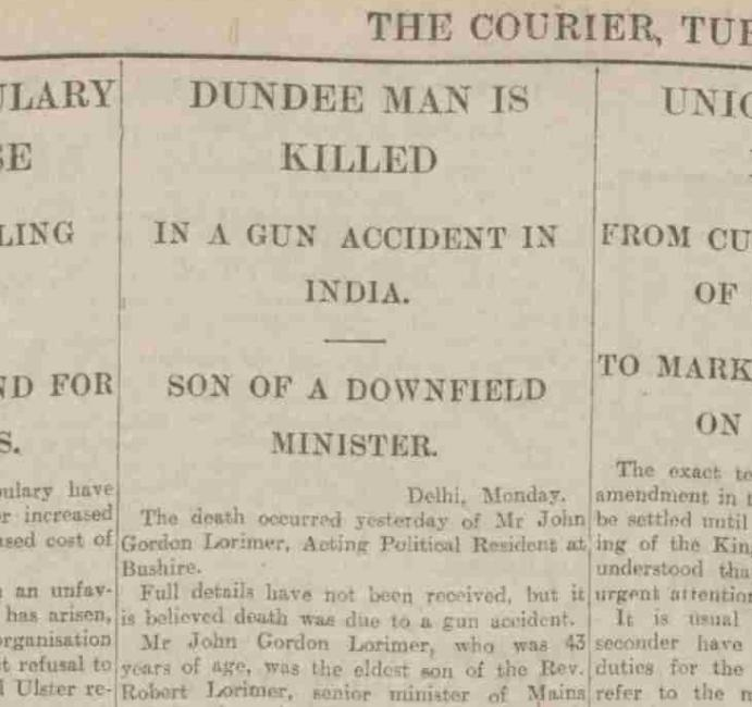 مقال عن وفاة لوريمير في ذى دندي كوريير، ١٠ فبراير ١٩١٤. بإذن من أرشيف الصحافة البريطانية.