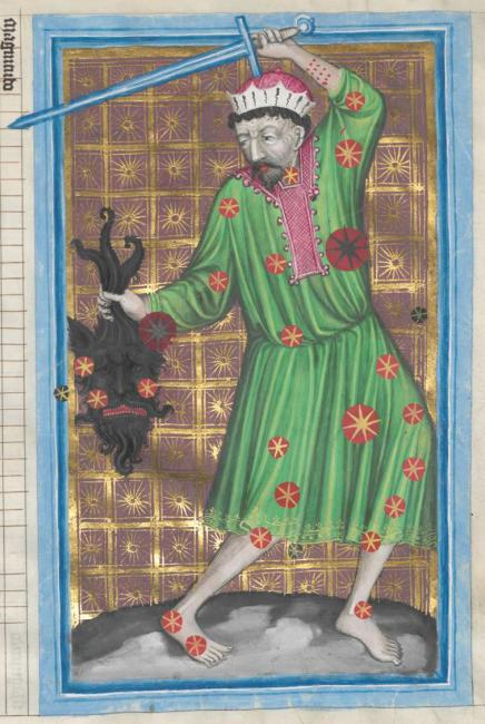 The constellation of Perseus (same as image above) from a 14th-century copy of the Latin translation of al-Ṣūfī's Kitāb ṣuwar al-kawākib al-thābita. Note al-Ṣūfī's influence in the bearded demon's head. Bayerische Staatsbibliothek, Ms. Clm 826, f. 39r