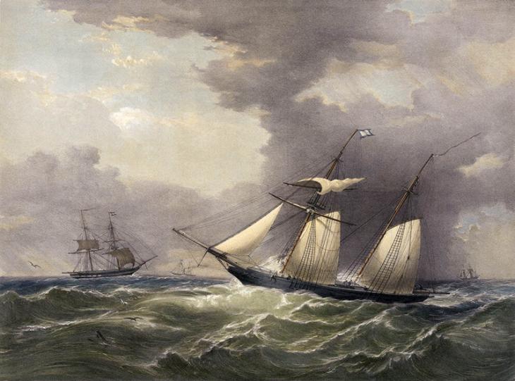السفينة الملكية البريطانية باندورا، خدمة بريد فالماوث، ١٨٤٣. بإذن من المتحف البحري الوطني، غرينتش، لندن (متاحة تحت شروط رخصة المشاع الإبداعي: النسبة-غيرالتجاري-الترخيص بالمثل).