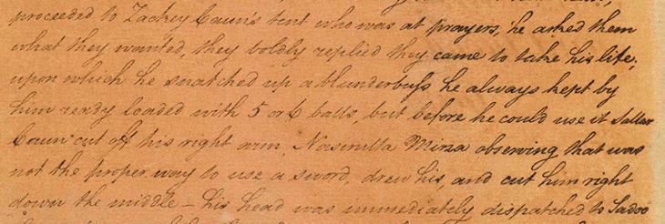 John Beaumont's letter describes the killing of Zaki Khan. IOR/R/15/1/3, p. 26
