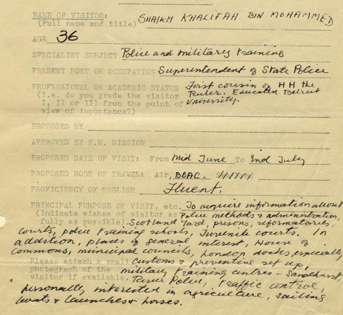 Shaikh Khalīfa's details as supplied by Charles Belgrave, 29 May 1948. IOR/R/15/2/845, f. 11r