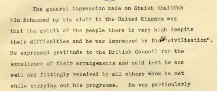 ملخص بيلي عن زيارة الشيخ خليفة وانطباعاته عن المملكة المتحدة، ٩ نوفمبر ١٩٤٨. IOR/R/15/2/845، ص. ٢٥و