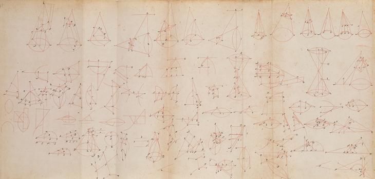أشكال من مخطوطة من القرن الثامن عشر لكتاب أبلونيوس في المخروطات. IO Islamic 924، ص. ٤١و