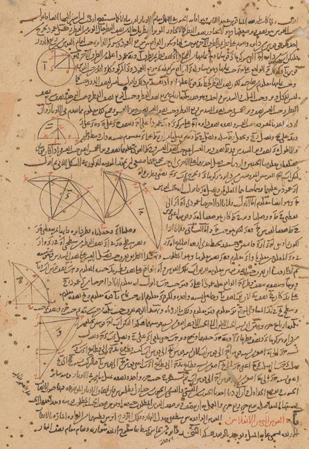صفحة من كتاب تحرير المجسطي بقلم نصير الدين محمد بن محمد الطوسي. IO Islamic 1148، ص. ٥و