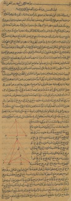 بداية بحث ابن الهيثم حول إحدى دراسات بنو موسى عن مخطوطات هندسة مخروطيات أبولونيوس في مخطوطة من القرن السادس عشر أو السابع عشر. IO Islamic 1270، ص. ٢٨ر
