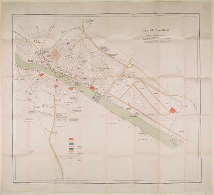خريطة لمدينة بغداد صدرت من قبل موظفي مكتب الحرب الاميرالية، ١٩١٧. IOR/L/MIL/17/15/41/3، ص. ٥٢٧