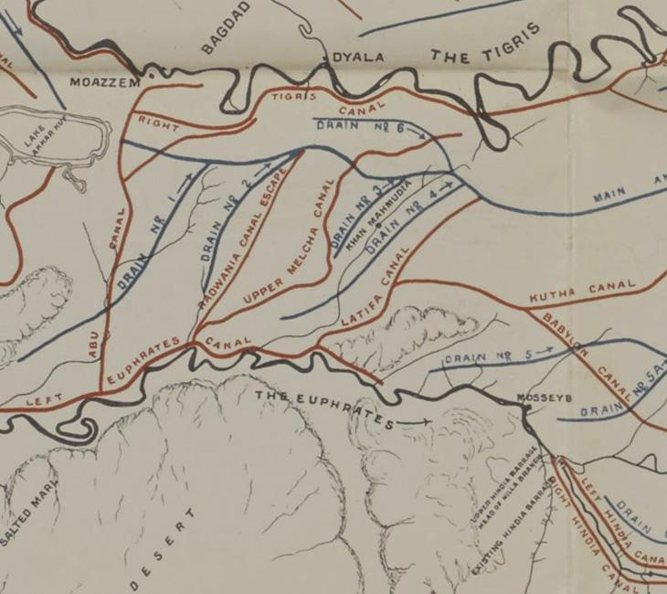 Detail from a sketch map of the Tigris and Euphrates delta produced to illustrate 'Report on the Development of Mesopotamia'. IOR/L/MIL/17/15/53, p. 33