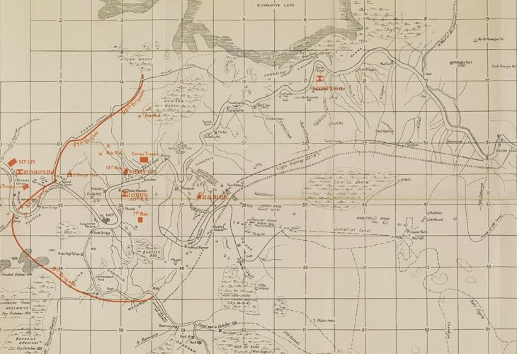 Detail from map of Shaikh Saad and Kut-Al-Amara [Al-Kūt] compiled from ground and air reconnaissance, produced to illustrate the movements of the British and the Turkish military forces on the night 25–26 February, 1917. IOR/L/MIL/17/15/72/2, f 1, f. 1r
