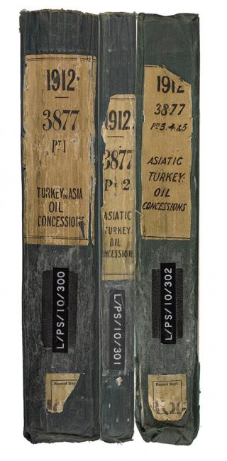 Spines of three volumes spanning five parts of the same subject. IOR/L/PS/10/300-302
