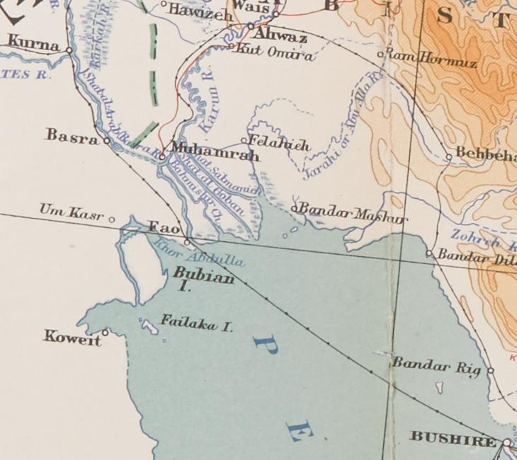Detail from a 1908 War Office map of Persia and Afghanistan that shows Mohammerah. IOR/L/PS/10/332, f. 77