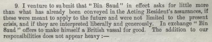 Extract of a letter by Captain William Henry Irvine Shakespear to the Political Resident in the Persian Gulf, 4 January 1915. IOR/L/PS/10/387/1, f. 65v