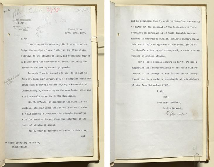 Letter from the Foreign Office to the Under Secretary of State for India, 16 April 1907. IOR/L/PS/10/50/3, ff. 47-48