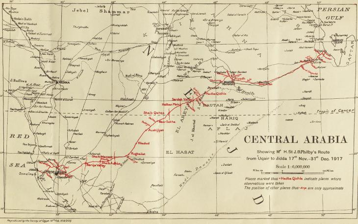 Map showing the route across Arabia of Philby's diplomatic mission to Ibn Saud in 1917. IOR/L/PS/10/658, f. 103r