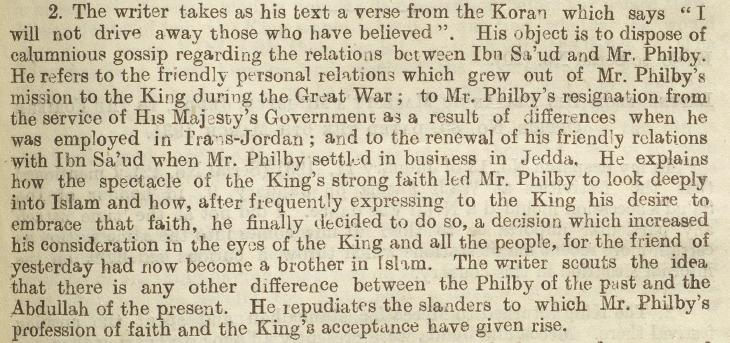 'The King's strong faith led Mr. Philby to look deeply into Islam'. The British Minister to Jeddah recounts an article in defence of Philby's motives for conversion in the newspaper Umm-al-Qura on 30th January 1931. IOR/L/PS/12/2071, f. 280r