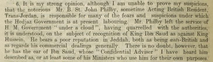 Mention of Philby in an extract of a letter from the Commander of HMS Clematis, 11th June 1929. IOR/L/PS/12/2071, f. 526v