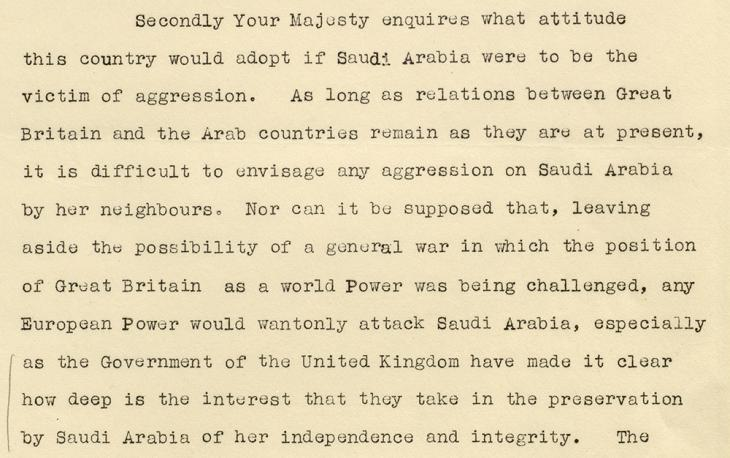 Extract of a draft letter from Prime Minister Neville Chamberlain to Ibn Sa'ūd, 23 March 1939. IOR/L/PS/12/2088, f. 119r