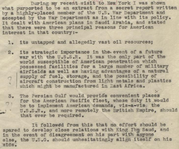 Extract of minute paper by Isaiah Berlin, describing the contents of a secret report on the US Government's long-term plans in Saudi Arabia, 5 January 1944. IOR/L/PS/12/2124, f. 36r