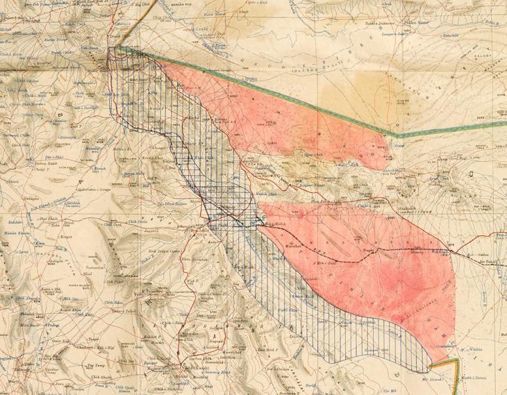 جزء من خريطة المنطقة الحدودية بين بلاد فارس وأفغانستان وبلوشستان، تشير إلى المناطق التي استكتشفها المسّاحون الهنود والفارسيون في سنة ١٩٣٢. IOR/L/PS/12/3425, f 118
