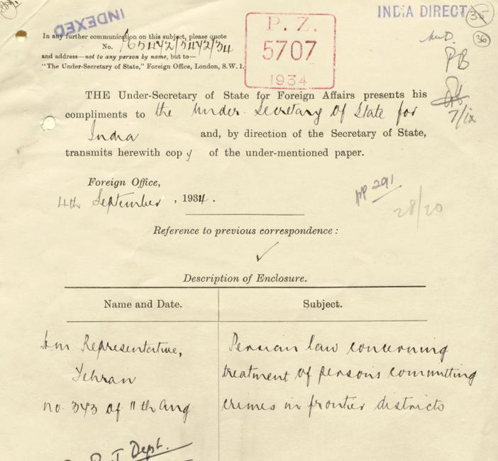 Extract of a cover slip enclosing correspondence received by the Foreign Office from the British Legation in Tehran, for the attention of the India Office, 4 September 1934. IOR/L/PS/12/3427, f. 36