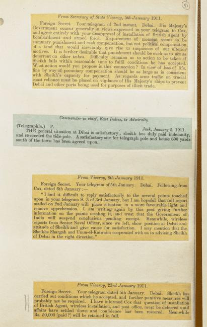 Copies of telegrams between the British Government, the Government of India, and British officials in the Gulf concerning The Dubai Incident. IOR/L/PS/18/B321, f. 51