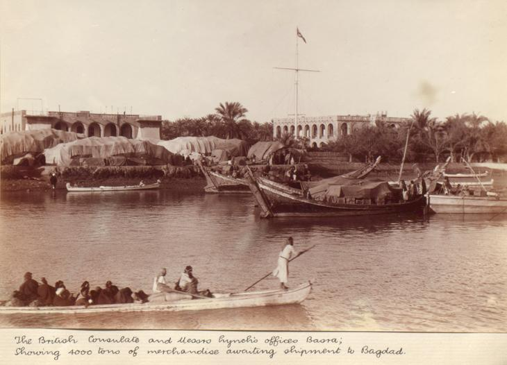 Photograph taken in Basra in 1906, showing the offices of Messrs Lynch (left) and the British Consulate, as seen from across the river. IOR/L/PS/20/C260, f 25 2