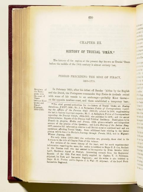 Chapter III: History of Trucial 'Omān' in the historical section of Lorimer's Gazetteer. IOR/L/PS/20/C91/1, p. 630