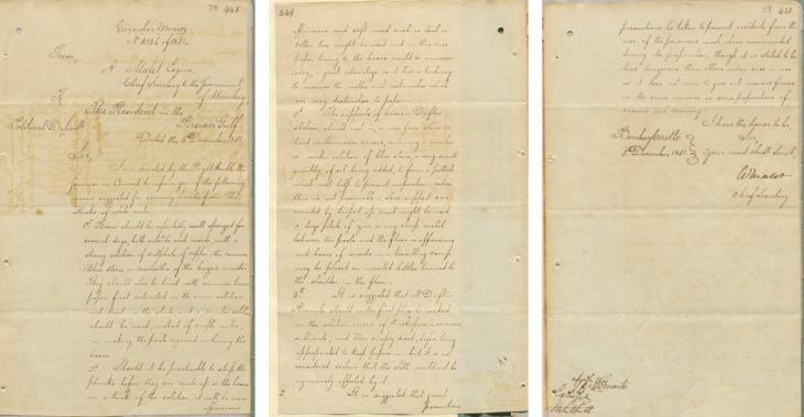 مذكرة دورية أرسلها آرثر ماليت، السكرتير العام لحكومة بومباي، إلى المقيم البريطاني في الخليج العربي، بتاريخ ٥ ديسمبر ١٨٥١. IOR/R/15/1/128, صص. ٢٨-٢٩