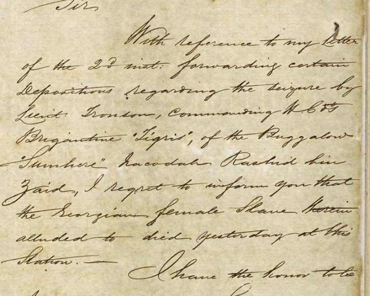 Extract of a letter from Commodore George Robinson, Commanding Officer, Persian Gulf Squadron, dated 5 August 1853, informing the Resident that the enslaved Georgian woman had died at Bāsa'īdū. IOR/R/15/1/138, f. 376