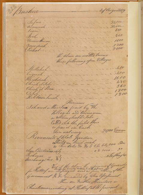 Extract from one of George Sadleir's letters containing a list of towns and their populations in the province of al-Hasa, 17 July 1819. IOR/R/15/1/19 f. 114v
