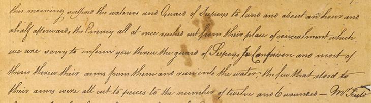 Extract of a letter from Charles Elphinstone and Lawrence Nilson, aboard the Revenge at sea, to James Morley, East India Company Resident at Bushire, and his assistant, George Green, dated 29 May 1768. IOR/R/15/1/1, ff. 24r