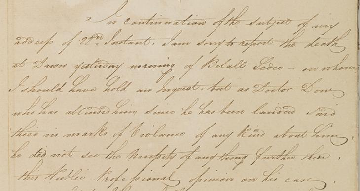 Extract of a letter from William Bruce, Resident, Bushire, to the Honourable Mountstuart Elphinstone, President and Governor in Council, Bombay, 26 April 1820. IOR/R/15/1/22, ff. 45–46
