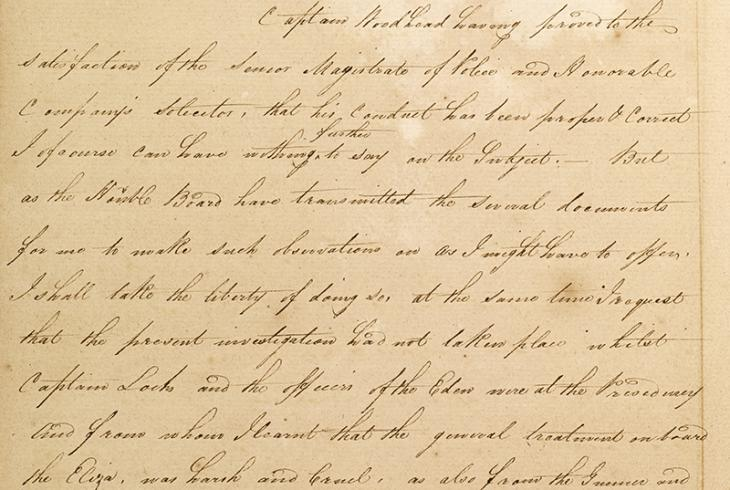 Extract of a letter from William Bruce, Resident at Bushire (writing from Bombay) to James Bruce Simson, Secretary to the Government, Bombay, 13 Jun 1820. IOR/R/15/1/22, ff. 50–51