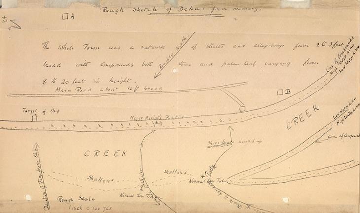 رسم تقريبي من الذاكرة لدبي يظهر اقتراب وحدة الإستطلاع البري من سفينة البحرية الملكية هياسنث، بتاريخ ٢٦ ديسمبر ١٩١٠. IOR/R/15/1/235، ص. ٢٤و