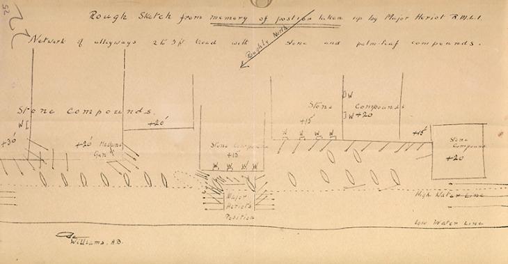 رسم تقريبي من الذاكرة للموضع الذي اتخذه الرائد هيريوت في دبي، بتاريخ ٢٦ ديسمبر ١٩١٠. IOR/R/15/1/235، ص. ٢٥و