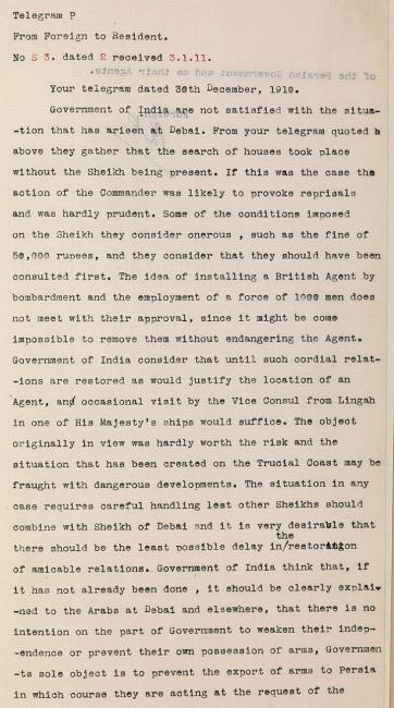 برقية من الحكومة في الهند إلى المقيم السياسي في الخليج العربي بتاريخ ٢ يناير ١٩١١ بخصوص الأحداث الأخيرة في دبي. IOR/R/15/1/235، ص. ٢٨