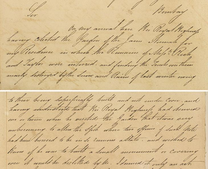 Letter from William Bruce to Francis Warden in 1822, informing the Bombay Government that he had found the tomb of Claudius Rich at Shiraz to be in a ruinous condition and therefore commissioned a replacement monument in marble. IOR/R/15/1/25, ff. 59v-60r