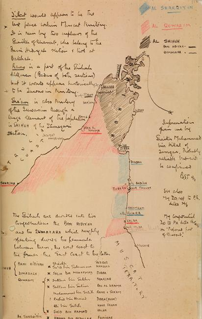 Sketch map of the Musandam Peninsula drawn by Bertram Thomas in November 1926 to illustrate the allegiance of different tribes. IOR/15/1/278, f. 116r