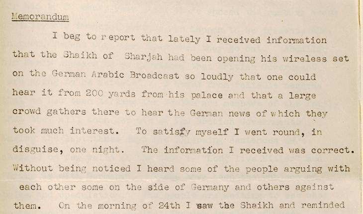Extract of the first page of Razuqi's report on German radio broadcasts in Arabic. IOR/R/15/1/281, f. 166