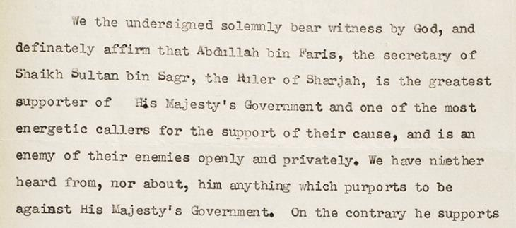 Extract of petition signed by forty-eight prominent residents of Sharjah vouching for the loyalty of bin Faris. IOR/R/15/1/281, f. 174